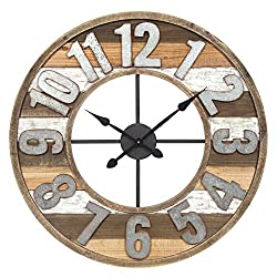 Everly Hart Collection 33 Rustic Reclaimed Wood and Metal Wall Clock