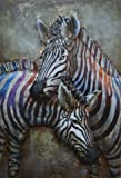 Empire Art Direct ''Zebras'' Mixed Media Hand Painted Iron Wall Sculpture by Primo