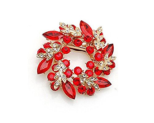 C-Pioneer Ladies Girls Golden Plated Flashing Rhinestones Crystals Bauhinia Flower (Red)