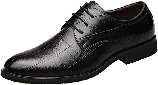 Pleasantly cool Men's Business Formal Genuine Leather Shoes Low-heeled Lace Up Breathable Slip On British Casual Banquet Wedding Shoes Single Shoes Comfortable (Color : Black, Size : 43 EU)