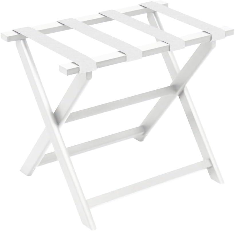 Gate House Furniture White Eco-Poly Folding Luggage Rack with 4 White Nylon Straps