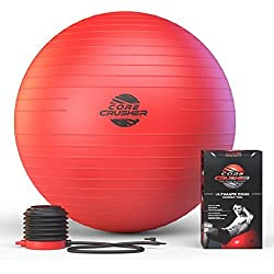 Master of Muscle Exercise Ball 65cm with Pump - Best for Stability - Yoga - Abs- Fitness - Core - Pilates - BONUS workout Ebook Included Featuring 20 Core Crushing Exercises