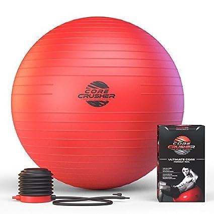 fcb812d2fdcff Ballon Suisse de Gym 65 cm avec pompe. - Le meilleur pour abdos stabilité  et tonification des muscles. Idéal pour Cross Fit, Yoga et Pilates. Ebook  ...