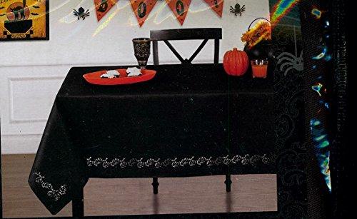 Elrene Home Fashions Laser Cut Pumpkins Halloween Fabric Tablecloth