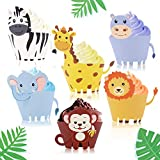 48PCS Jungle Animal Cupcake Wrappers Decorations Safari Party Supplies Zoo Themed Baby Shower Birthday Supplies