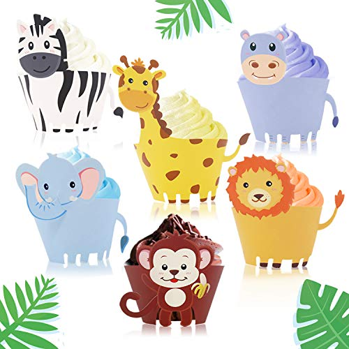 Jungle Safari Animal Cupcake Wrapper Zoo Party Supplies Baby Shower Birthday Decorations -