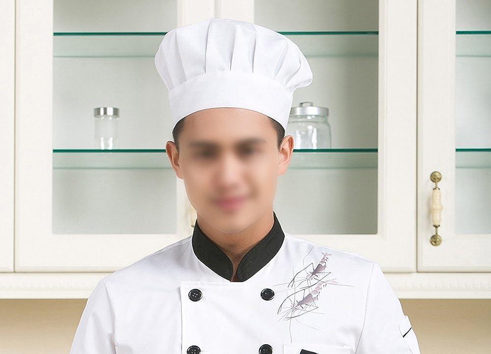 Oyfel Kochm/ütze Koch Hut Restaurant Kochen BBQ f/ür Damen Herren Wei/ß