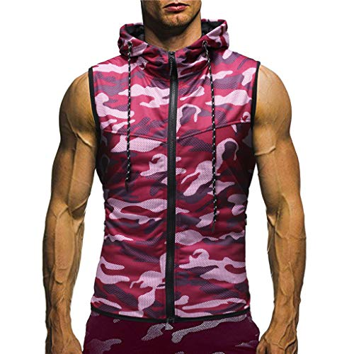 Misaky Men's Summer Camouflage Hoodie Hooded Sleeveless T-shirt Top Hunting Shirt Active Shirts ...