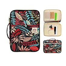 Document Portfolio Bag - Portfolio with Zippered 8 Pocket Organizer for iPads, Notebooks, Documents by YOUSHARES (Coloful Red)