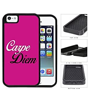 Carpe Diem Quote Latin Poet Horace Pretty Pink 2-Piece High Impact Dual Layer Black Silicone Cell Phone Case iPhone i5 5s