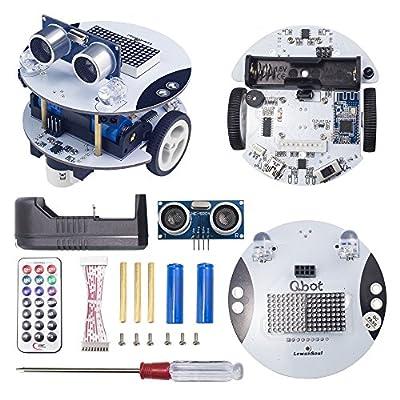 LewanSoul Qbot Programmable Smart Robot Car Kit with Ultrasonic Sensor, Line Tracking Sensor, LED Display, Bluetooth Module, Infrared Remote Control, Mobile APP for Arduino Scratch Beginner