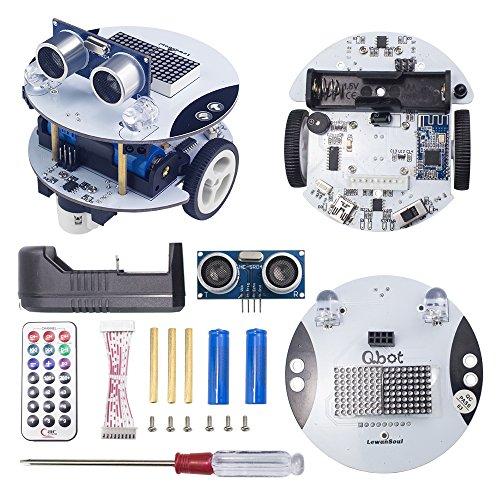 LewanSoul Qbot Programmable Smart Robot Car Kit Arduino STEM Education Scratch 2.0 with Ultrasonic Sensor, Line Tracking Sensor, LED Display, Bluetooth Module, Infrared Remote Control, Mobile (Sonic Robot)
