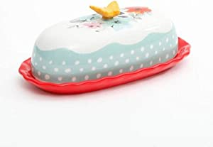 """The Pioneer Woman Flea Market Decorated Floral 6.4"""" Butter Dish"""
