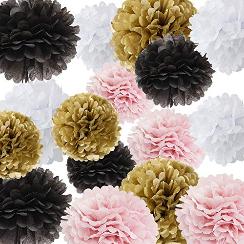 (Baby Shower Parisian French Pink Black Paris Birthday Party Ideas Ooh La La Party Decoration 16pcs Tissue Paper Pom Poms Pink Gold Black White Paper Flower Ball Decoration Tissue Ball)