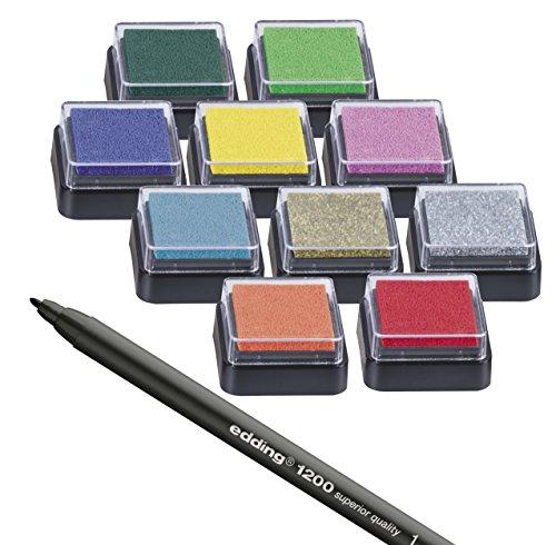 Stempelkissen (10er Set) mit Stift für Fingerabdrücke, zum Basteln und zum kreativen Gestalten (10 Farben)