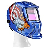 Flexzion Auto Darkening Welding Helmet Solar Powered Weld/Grind Selectable Mask Tool Blue Eagle Face Protector for Arc Tig Mig Grinding Plasma Cutting with Adjustable Shade Range 9-13