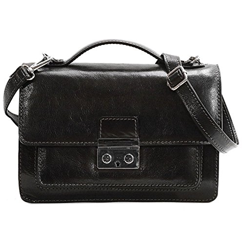Black Milano Leather Handbags - Floto Milano Mini Full Grain Leather Satchel Handbag