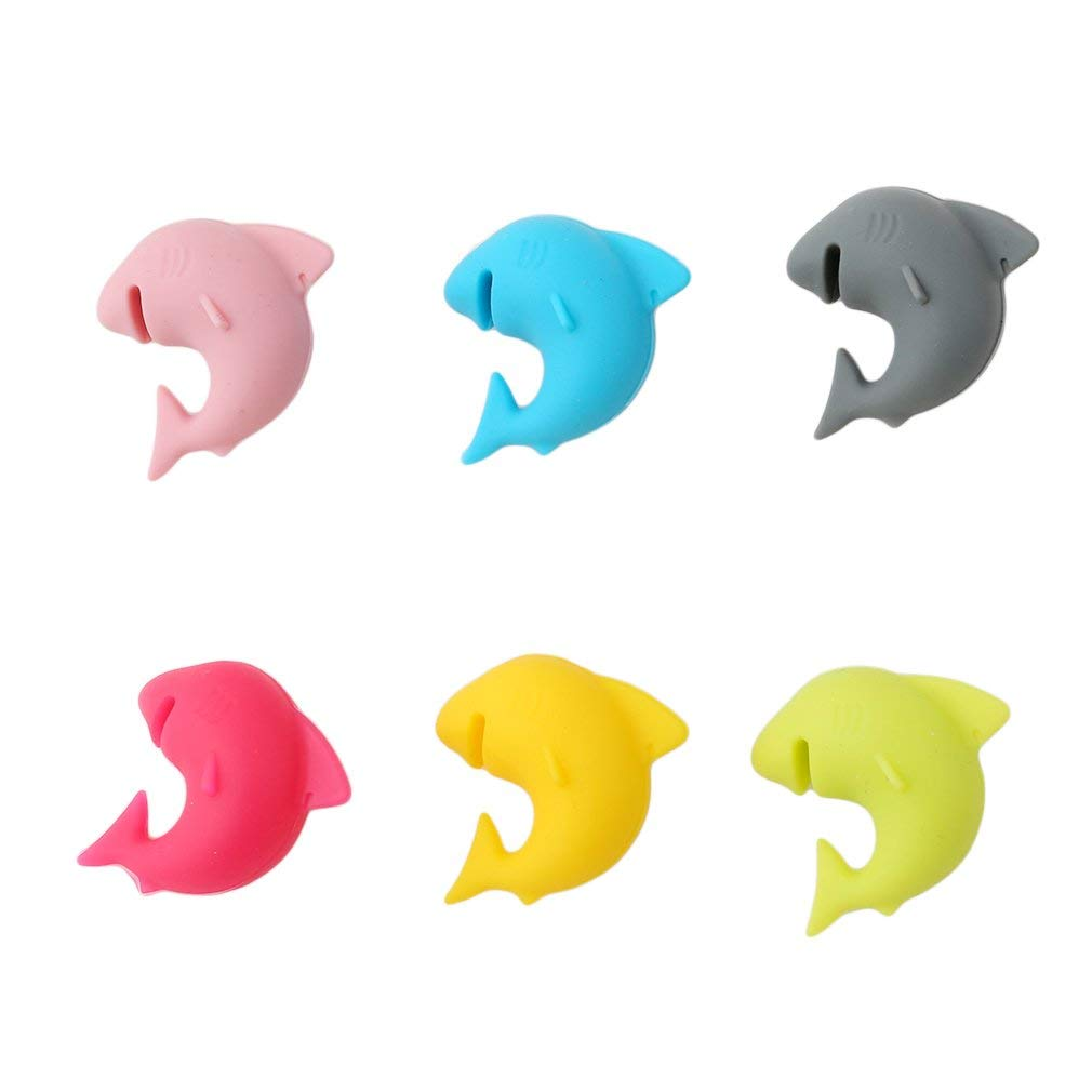 Shark Shape Drink Markers for Party and Family Fliyeong Premium 6pcs Glass Markers