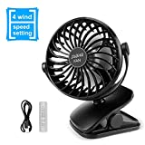 #10: UERMEI Battery Operated Clip on Mini Portable Fan for Stroller 4 Speed Cooling Desk Table Fan USB Rechargeable Personal Fan for Office,Dorm or Outdoor Activity (Black)