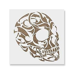 Amazon.com: Tribal Skull Stencil Template - Reusable ...