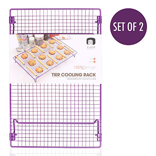 Cooling Rack Stainless Steel, 2-Tier Stackable Wire Rack for Cooking Roasting Grilling Baking Cookies Cake Bread with 4 Stable Legs, Cookies Recipe Included, Large 17x11
