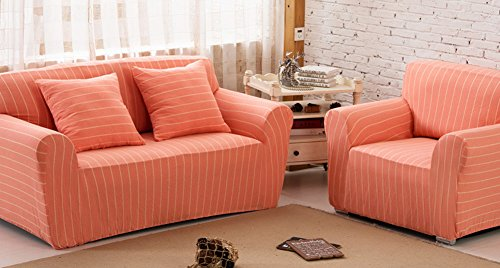 ChezMax Striped Pattern Soft Cotton Fabric Sofa Cover 1 Piece Thicken Strenched Arm Chair Sofa Slipcovers Orange