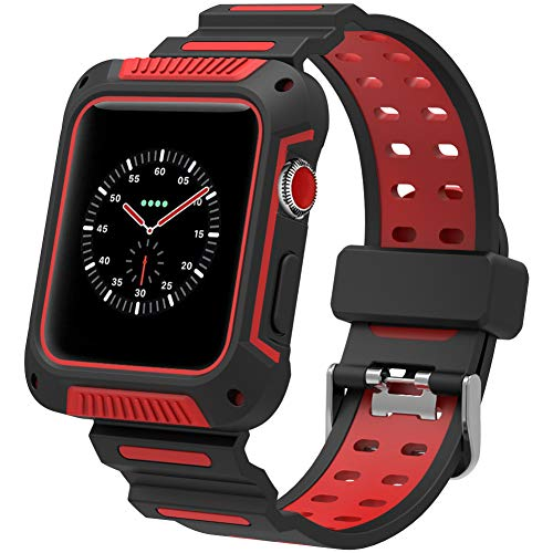 Karei Compatible Apple Watch Band 42mm Case, Shock-Resistant Protective Cover Soft Silicone Sport Strap iWatch Band Apple Watch Band Series 3/2/1, Sport, Edition