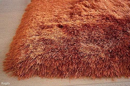 8'x10' Feet Orange Rust Two Tone Color Solid Plush Pile Shag Shaggy Fuzzy Furry Area Rug Carpet Rug Modern Contemporary Decorative Designer Bedroom Living Room Office Space Dorm Room