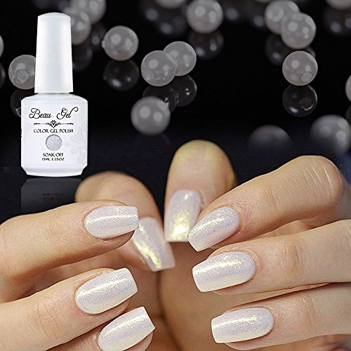 Gel Nail Polish Soak Off UV LED Professsional Nails Art Pearl White Beau Gel 15ml (373) ()