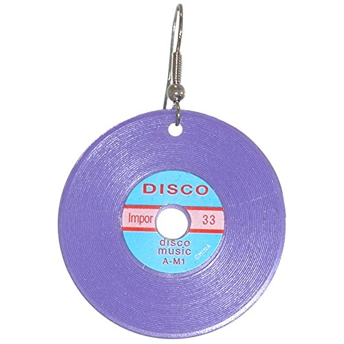 (Plastic Charms Record Earrings, Imported Parts, Assembled in USA!, in Purple)
