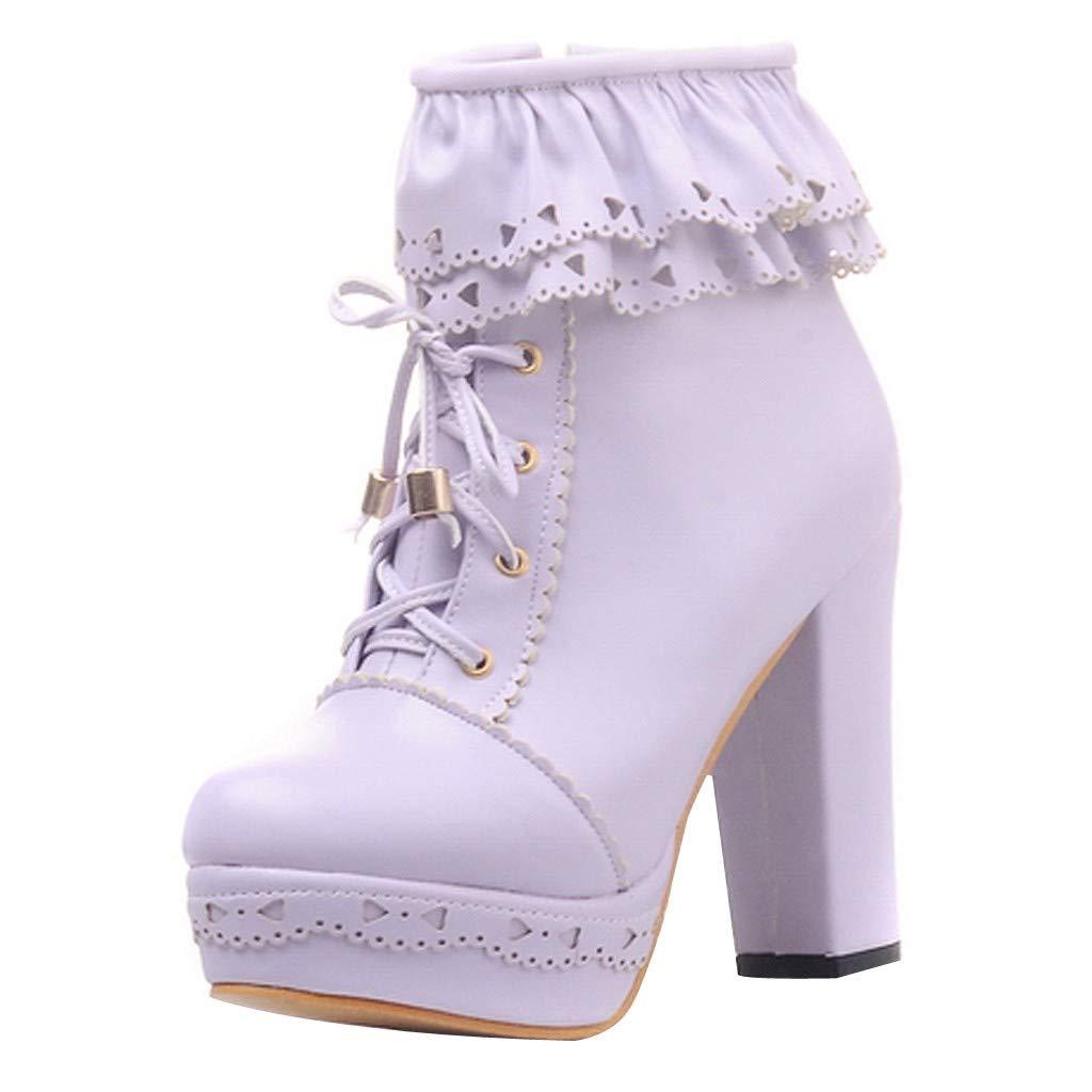 Kauneus Womens Office Party Sweet Lolita Platform Chunky High Heel PU Lace up Ankle Boots Purple by Kauneus Fashion Shoes