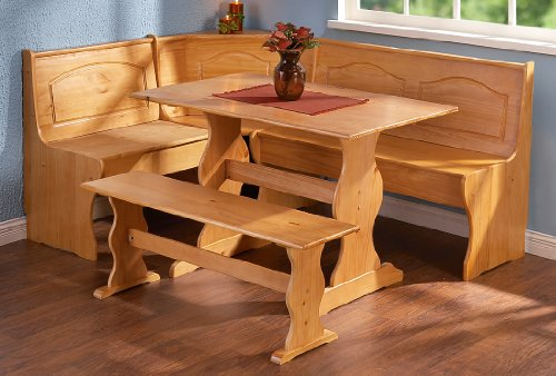 Linon Chelsea Nook Dining Table and Bench Set in Natural (Furniture Nook Breakfast Set)