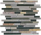 30 Square Feet - Vetro Italia Bergamo Stone and Glass Linear Mosaic Tiles