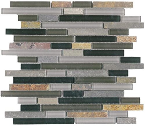 30 Square Feet - Vetro Italia Bergamo Stone and Glass Linear Mosaic Tiles by Rocky Point Tile