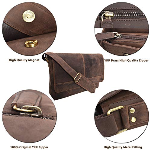 e64270bb7a Genuine Leather Messenger Bag for Men and Women - 14 inch Laptop Bag for College  Work Office by LEVOGUE (BROWN CRAZY HORSE). Genuine Leather ...