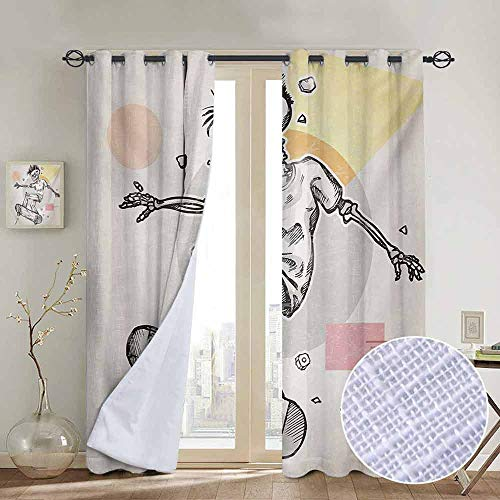 NUOMANAN Window Curtain Fabric Skull,Punk Rocker Skeleton Boy on a Skateboard Skiing with Abstract Background,Pale Grey and Cream,Rod Pocket Curtain Panels for Bedroom & Living Room 52