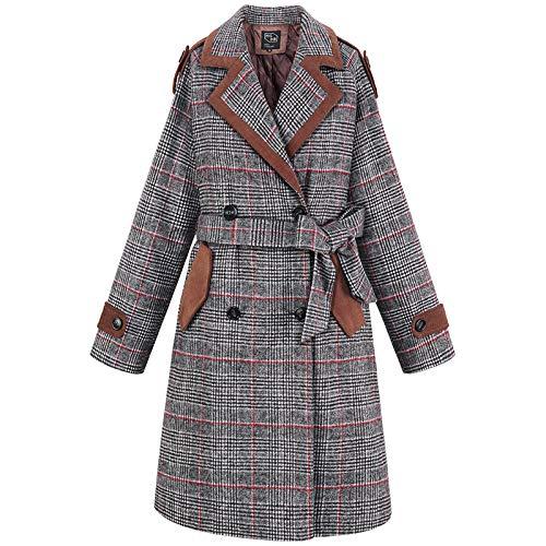 Donna grigio Azw Fashion Cappotto Lungo Con Fiocco Scozzese Vintage In Lana s Invernale Donna Vita Da Abbigliamento EEpWnCRSZq