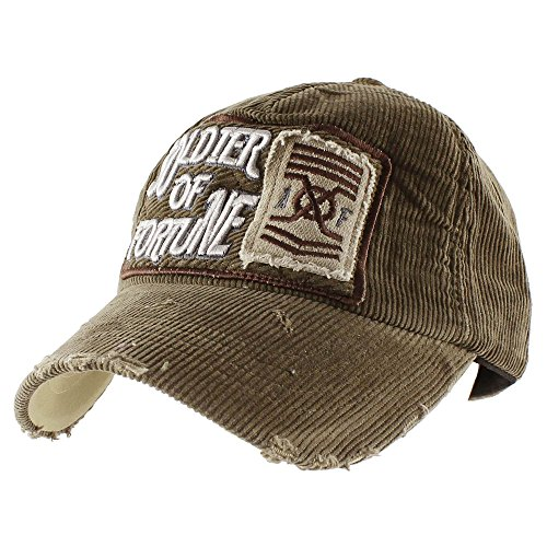 Morehats Soldier of Fortune Corduroy Vintage Style Baseball Cap Adjustable Hat - Olive Brown ()