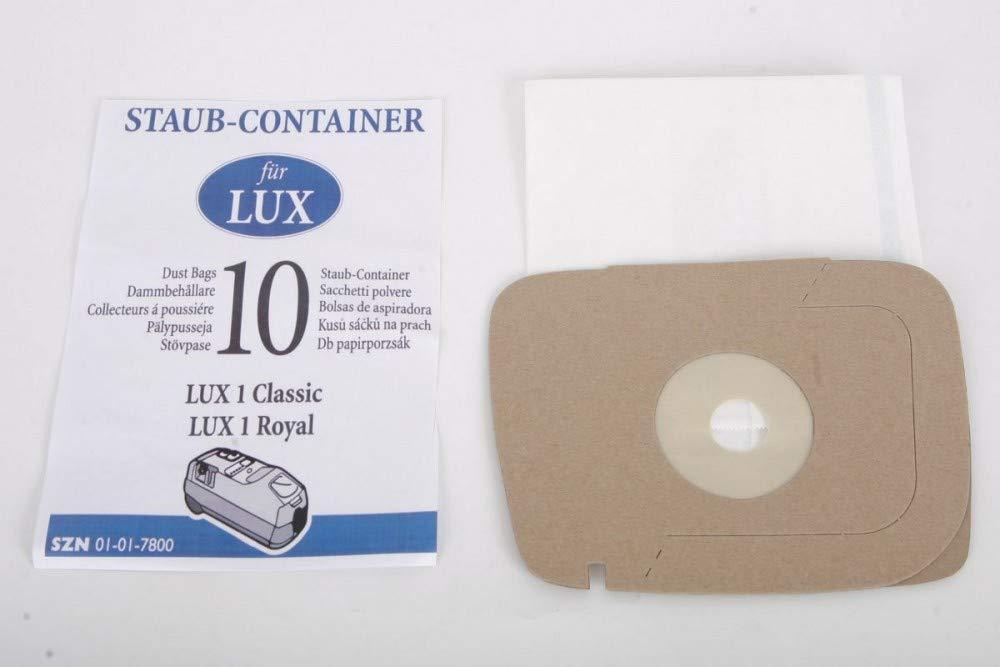10 bolsas para aspiradora para Lux 1 Classic y Royal