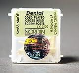 Nordin Dental HN-XL6 Swiss Made Gold Plated Conical Cross Head Screw Post XL6 12/pk