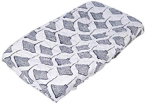 - Lewis Quilted Organic Cotton Changing Pad Cover Stingray Print 100% GOTS Certified Organic Cotton, Denim