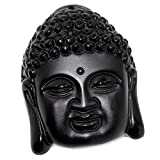 SCOO Hand Carved Natural Genuine Obsidian Buddha Head Amulet Pendant Necklace