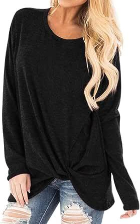Sudadera Tumblr Mujer Manga Larga Casual Color sólido Jerséis Otoño Invierno Cuello Redondo Jersey Mujer Primavera Blusa Tops Suéter Mujer Abrigo Rebajas Deportiva por vpass