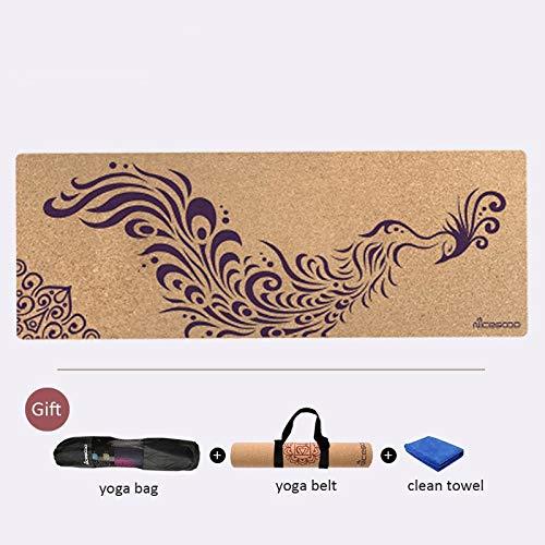 YOOMAT Rutschfeste Kork-Naturkautschuk-Yoga-Matte für Fitness umweltfreundliche professionelle Pilates Pad Gymnastik Übungsmatten 183cm  61cm  3mm