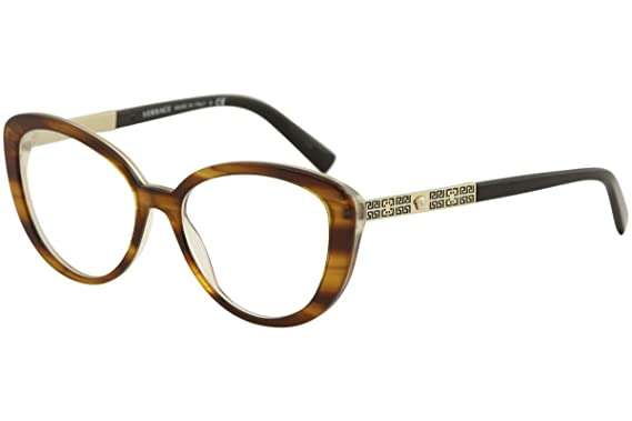 a1382a72da5ae Versace VE3229 Eyeglass Frames 5191-52 - 52mm Lens Diameter Striped Havana  VE3229-5191