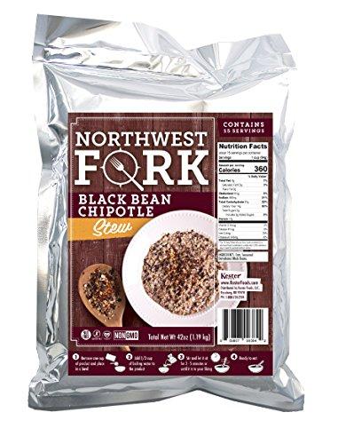 NorthWest Fork Black Bean Chipotle Stew (Gluten-Free, Non-GMO, Kosher, Vegan) 15 Serving Bag – 10+ Year Shelf Life