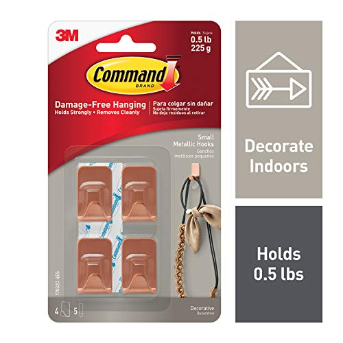 Command Copper Metallic Hooks, Holds 0.5 lbs, Small, Indoor Use (17032C-4ES)