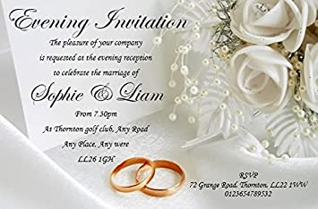 40 Personalised Wedding Day Evening Invites Invitations REF WDE