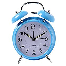 Yxaomite Twin Bell Alarm Clock 4 Home Decor Bedside Desk Clock Vintage Silent Loud Mute Quartz Analog Retro with Stereoscopic Dial Backlight Battery Operated Non-Ticking for Kids Bedroom (Blue)