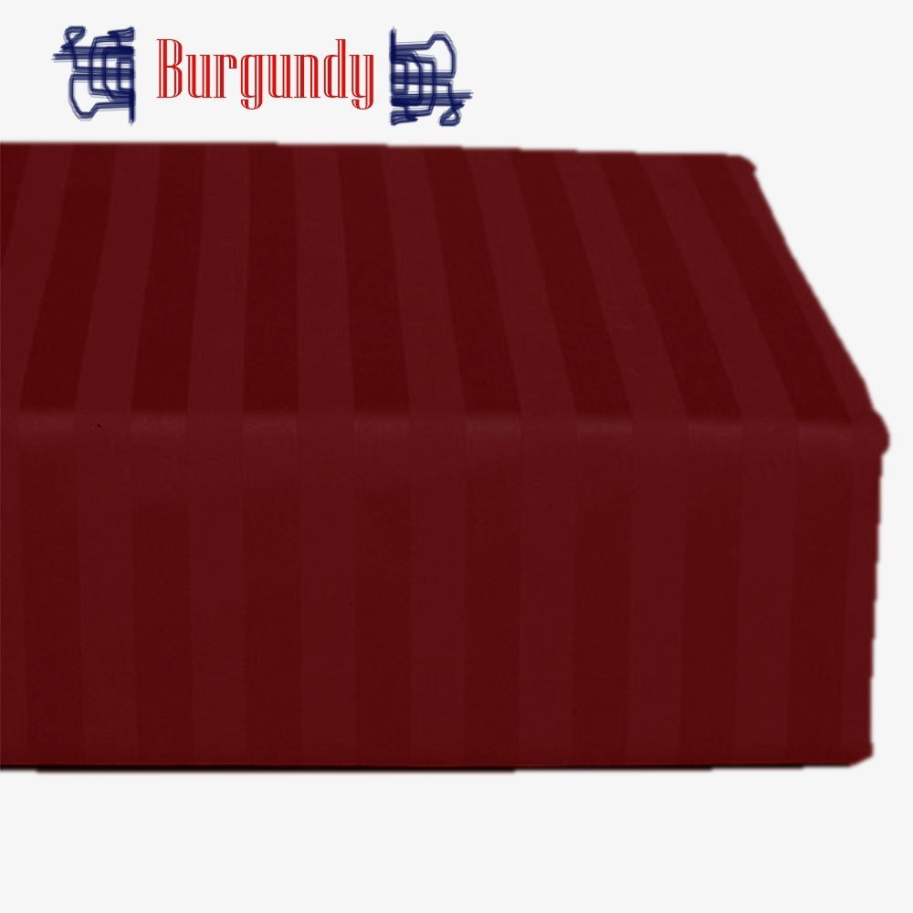 Hotel Quality Rinku Linen 400 Thread Count 1-Piece Flat Sheet/ Top Sheet Stripe Burgundy Egyptian Cotton King Size